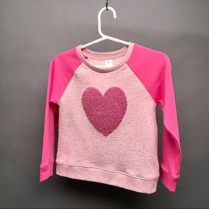 NWT GAP Baby Girls Heart Pink Sweat Shirt 5 Years